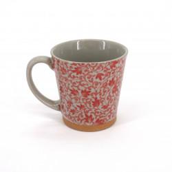 Tazza da tè giapponese di ceramica, SARASA, fiori rossi