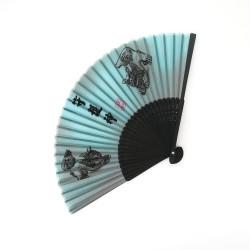 éventail japonais gris en soie et bambou, SHISA, divinités