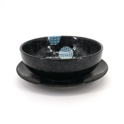 set of black japanese bowl Ø19,8cm and plate Ø22,7cm, MARUMON, round blue