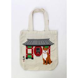 Sac A4 size bag japonais beige en coton, TEMPLEDOOR, rouge