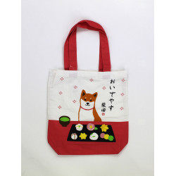 Japanese white and red cotton A4 size bag, SWEET, dog