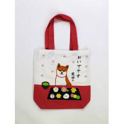 Sac A4 size bag japonais rouge et blanc en coton, DOGSWEET, chien