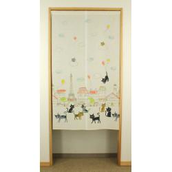 cortina japonesa blanca de poliester, PARIS, gatos