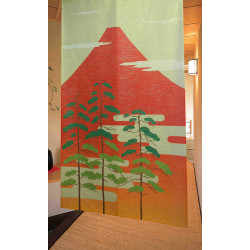 japanese noren curtain in polyester, FUJI PINE TREE, red and green