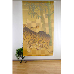 cortina japonesa de poliester, BAMBOO TIGER, dorado y verde