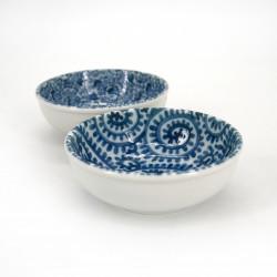 set da 2 ciotole svasate giapponesi blu di ceramica KARAKUSA