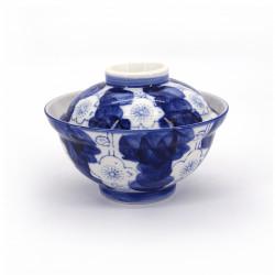 bol japonais bleu en céramique avec couvercle, UME, fleurs