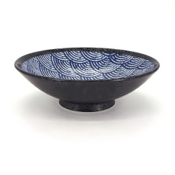 Japanese blue and black ramen noodles bowl SEIGAIHA waves