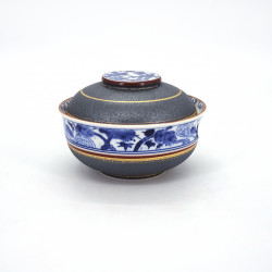 bol japonais bleu et gris en céramique avec couvercle, SHOCHIKUBAI, doré