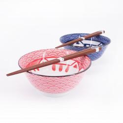 Set de 2 bols ramen japonais en céramique avec baguettes MANEKINEKO rouge et bleu