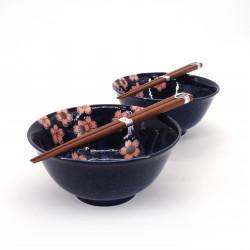 set da 2 ciotole giapponesi di ceramica per ramen SAKURA rosa e blu