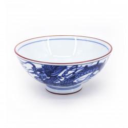 piccola ciotola di riso giapponese blu in ceramica, RYÛ Ø14,5cm drago