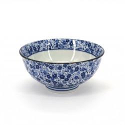 piccola ciotola di riso giapponese blu in ceramica, KOBANA Ø11,6cm fiori