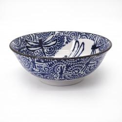 ciotola giapponese per spaghetti ramen di ceramica libellula TOMBO, blu e bianco