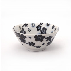 japanese noodle ramen bowl in ceramic SAKURA, black and white