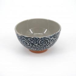 small blue japanese rice bowl in ceramic, TAKOKARAKUSA blue patterns
