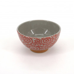 small japanese rice bowl in ceramic, TAKOKARAKUSA red patterns