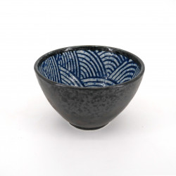 small blue japanese rice bowl in ceramic, SEIGAIHA waves