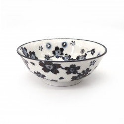 japanese noodle ramen bowl in ceramic HANA, white flowers