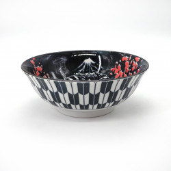 ciotola giapponese per spaghetti ramen di ceramica teatro KABUKI, rosso e blu