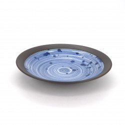 japanese soup bowl in ceramic, UZUMAKI, swirl grey and blue