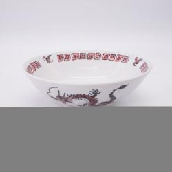 ciotola giapponese per spaghetti ramen di ceramica drago RYU, rosso e bianco