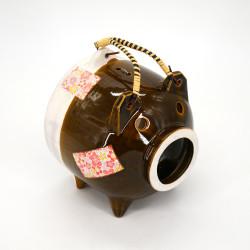 Keramik Tischdeko, BUTA, braune Schwein