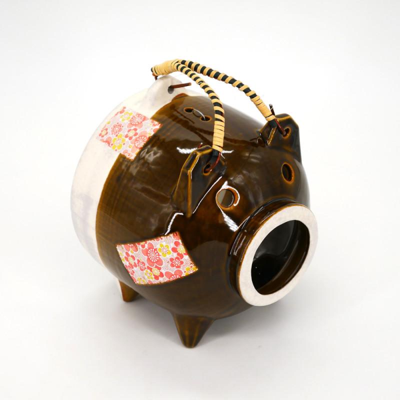 ornamento da tavola in ceramica, BUTA, maiale marrone