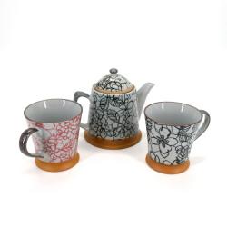 service japonais à thé en céramique 1 théière et 2 tasses 3 pièces HANA noir et rouge