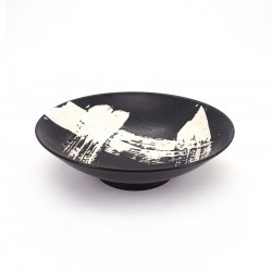japanese noodle ramen bowl in ceramic black SHIROHAKEME, white brush