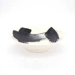 ciotola giapponese per spaghetti ramen di ceramica bianco SHIROHAKEME, pennello nero