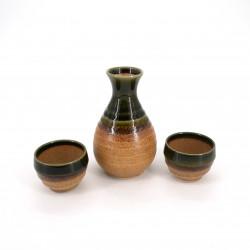 service japonais à saké 2 verres et 1 bouteille, CHA, brun
