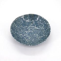 bol évasé japonais en céramique Ø16.8x4,5cm TAKOKARAKUSA, motifs bleus