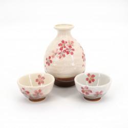 sake service 1 bottle and 2 cups, SAKURAZAKE, white and pink flowers