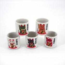 set de 5 tasses à saké japonaises 5 couleurs MANEKINEKO chats