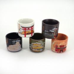 set di 5 tazze di sake giapponesi 5 immagini MEISHO costruzione