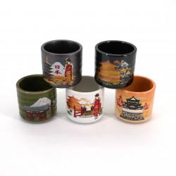 Japanese five sake cups set with 5 patterns KURASHIKARU JAPAN pagoda