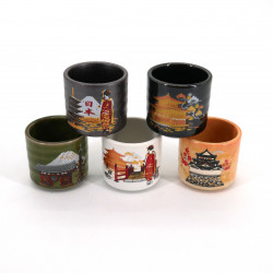 set de 5 tasses à saké japonaises 5 images KURASHIKARU JAPAN pagode