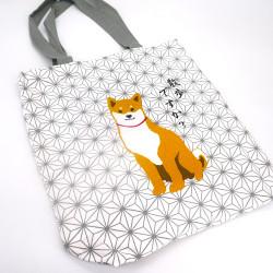 Japanese white cotton A4 size bag, ASANOHA, dog