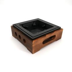 Riscaldatore-teiera marrone quadrato in ghisa e legno, L16,5cm