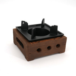 small brown square cast iron and wood teapot heater L12cm