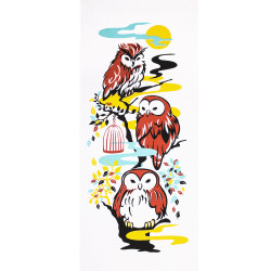Japanese cotton towel TENUGUI LUCKY owls