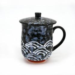 tazza tradizionale giapponese nera di ceramica con coperchio, SEIGAIHA, onde