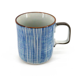 Japanese ceramic tea mug with handle TOKUSA blue lines