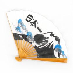 éventail japonais blanc en papier et bambou, FUJISAN, montagne