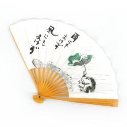 éventail japonais blanc en papier et bambou, KAERU, grenouille