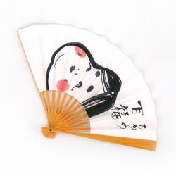 éventail japonais blanc en papier et bambou, OKAME, déesse