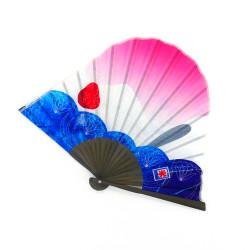 éventail japonais en forme de mont fuji, ICHIGO, glace rose et bleu