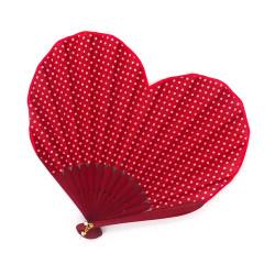 éventail japonais en forme de coeur, HEART, rouge