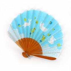 petit éventail japonais 21cm en coton, USAGI, lapin bleu ciel
